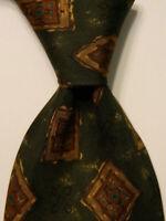 MARIO VALENTINO Men's 100% Silk Necktie ITALY Designer Geometric Green/Brown EUC