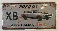Ford GT XB White Australian Muscle Car Distressed Metal Tin License Plate