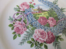 SIX COLCLOUGH BABY BLUE SIDE PLATE WITH PINK ROSES AND HORSESHOE WREATH