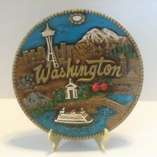 Vintage Washington State Souvenir Plate 3D Raised Design Space Needle Rainier