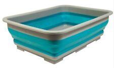 Summit Pop Folding Wash Basin Silicone Bowl Blue Camping Caravan Sink