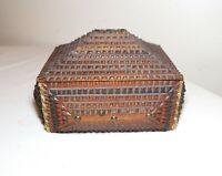 19th century antique handmade carved wood Tramp Art cigar box casket trunk 1800s
