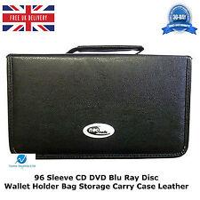 1 x 96 manica CD DVD BLU RAY DISC titolare Wallet Borsa Custodia di trasporto di stoccaggio in pelle