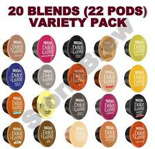 22 PODS (20 BLENDS), DOLCE GUSTO COFFEE CAPSULES VARIETY PACK: CAPPUCCINO, LATTE