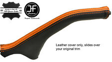 BLACK & ORANGE STRIPE LEATHER HANDBRAKE BOOT FOR MITSUBISHI MAGNA DIAMANTE 99-03