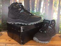 HI-TEC LADIES UK 4 EU 37 BLACK BLUE V-LITE SPHIKE MID WALKING BOOTS RRP £120