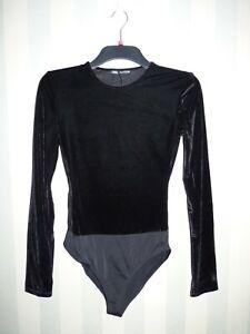 Zara Women's Black Velvet Bodysuit With Shoulder Pads-Size S M XL Stretch