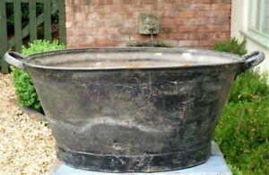 Galvanised bath plant pot planter Vintage garden tub