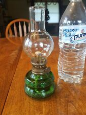Green Glass Hobnail Oil Lamp Base w clear glass globe Made in Hong Kong Marked