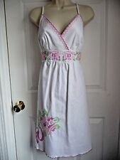 Lilly Pulitzer DRESS NEW 10 White PINK/GREEN Cross Stitch Embroidery Preppy WOW