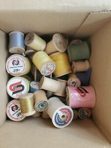 Vintage Lot Wooden Thread Spools and Bobbins some full some empty