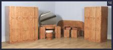 Antique English Art Deco Burr Walnut Six 6 Piece Bedroom Suite Wardrobe Bedside