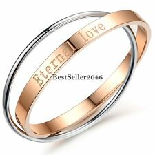 Fashion Womens Stainless Steel ETERNAL LOVE Girls Interlocking Bangle Bracelet