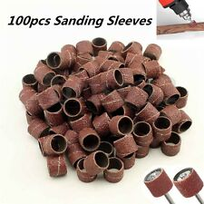 100pcs Grit 60# Sanding Sleeves Bands Abrasive Spiral Roll Drum Rotary Tool Kit