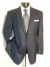 Hickey Freeman Navy Blue Plaid Windowpane 2 Button Size 42 R 100 % wool