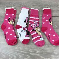 Official Disney Minnie Junior Girl Crew Socks 4 Pair UK C13 - 3.5  T261-3