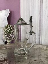 Antik Bierkrug Glas Krug Seidel Humpen Zinndeckel Bergkristall ? kurioser Zwerg