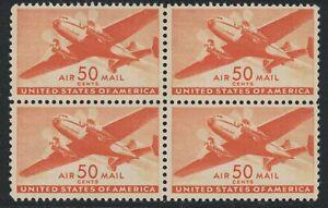 Scott C31- MNH Block of 4- 50c Twin Motored Transport Plane- 1941 mint Airmail