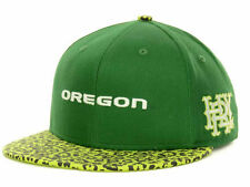 NEW Oregon Ducks Hurley Green Yellow Snapback Hat Baseball Cap Cheetah Print Men