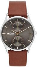 Men's Brown Skagen Multifunction Leather Band Watch SKW6086