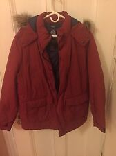 Men's Red Hooded Puffer Jacket By American Rag Cie, Size Large
