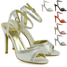 Womens Bridal Shoes Ankle Strap Ladies Stiletto Heel Diamante Prom Party Sandals