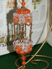 Vintage Retro style handmade beaded Bird Cage christmas ornament ORANGE/GOLD