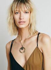 Free People Break a Stone Agate Crescent Moon Necklace Pendant Retails $98.00