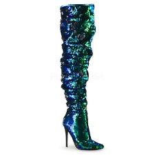 "PLEASER COURTLY-3011 Womens Sexy 5"" Heel Ruched Green Sequin Over The Knee Boots"