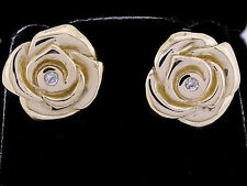 E068 Genuine 9ct SOLID Yellow Gold NATURAL Diamond ROSE Bud Stud Earrings Flower