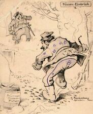 1914-18 Wwi German Anti- Russia, Burglar Comical Propaganda Postcard P18