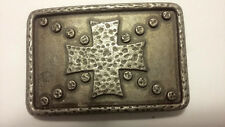 """3.5"""" by 2.5"""" bronze colored metal gothic cross belt buckle"""