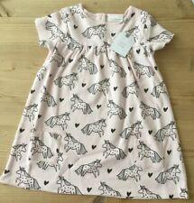 BNWT Next Baby Girls Pink Summer Dress Unicorns & Hearts 18 Months - 2 Years