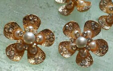 10 Gold Metal Buttons with Pearl and Rhinestone  22 mm. Flower Shaped Bridal