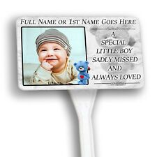 Baby Boy  Personalised Small Memorial Plaque & Stake. Your Photo , garden, grave