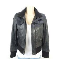 MANGO Lederjacke Leather Jacket Schwarz Gr. DE M (BE409)