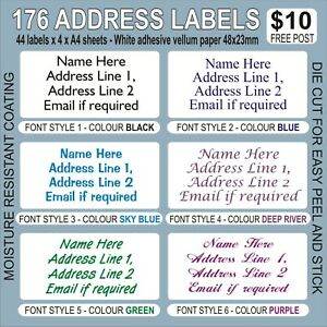 176 48x23mm PERSONALISED ADDRESS LABELS ADHESIVE VELLUM. CHOICE OF FONT & COLOUR