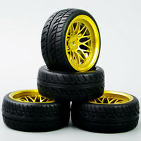 4Pcs Run Flat Tires&Wheel 12mm Hex For HSP HPI RC 1:10 On-Road Model Car Tyres