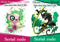 Pokemon Serial code Sword & Shield Okoya Forest Shiny Celebi & Zarude  set