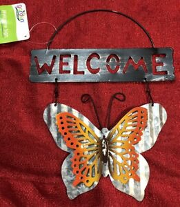Hanging Decor Metal Welcome Sign Plaque With Orange Butterfly