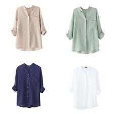 Women Summer Long Sleeve Cotton Linen Sheer T-Shirt Casual Loose Tee Tops Blouse