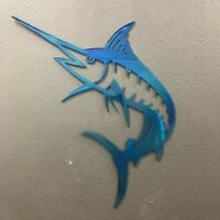 Marlin Metal Wall Art Skilwerx Colors 14 x 8 Ocean Nautical Beach Marine sea