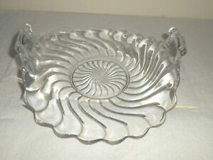 "Pretty Fostoria Crystal Elegant Glass 9.75"" Colony Pattern Muffin Tray"