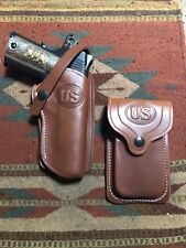 FITS Colt 45 Govt M 1911 Western Tanned Leather Holster & Magazine Pouch