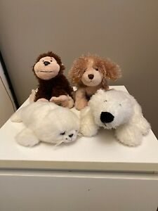 LOT OF 4 GANZ WEBKINZ- PLUSH TOY- NO CODE- CHEEKY MONKEY, HARP SEAL, BEAR, LION