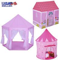 Girls Pink Princess Castle Cute Playhouse Children Kids Play Tent In/Outdoor USA