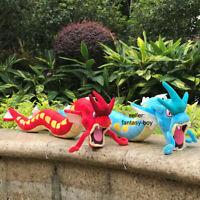 "2Pcs Shiny Gyarados Plush Dragon Red & Blue Stuffed Toy Cartoon Soft Doll 23"""
