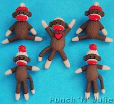 SOCK MONKEYS Cuddly Toy Knitting Baby Christmas Dress It Up Novelty Craft Button