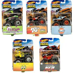 Hot Wheels Monster Trucks Set of 5 Dodge Charger Gulf Camaro Bone Shaker K & N