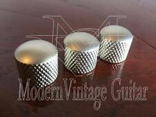 3  MVG SIDKNS Vintage Guitar  Style Dome Top Knurled Knobs Nickel Satin